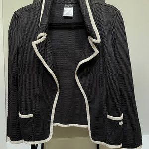 Vintage Chanel Silk Knit Jacket Charcoal Gray